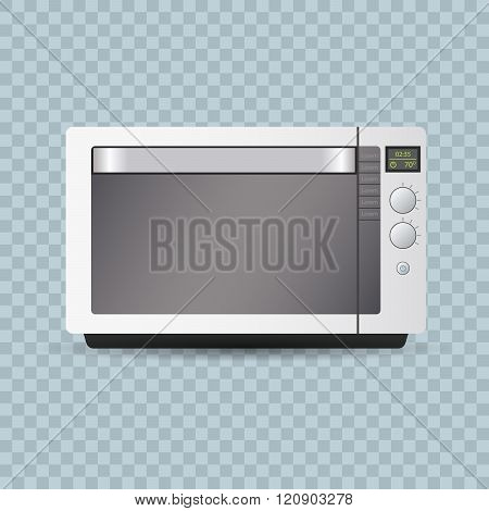 Microwave oven on transparent background.. Editable realistic vector illustration.