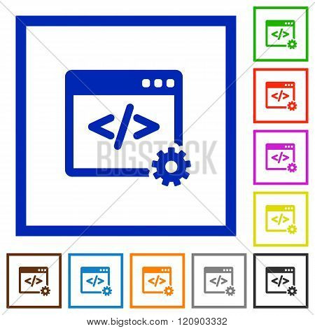 Web Development Framed Flat Icons