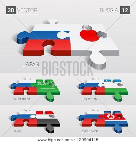 Russia Flag. 3d vector puzzle. Set 12.