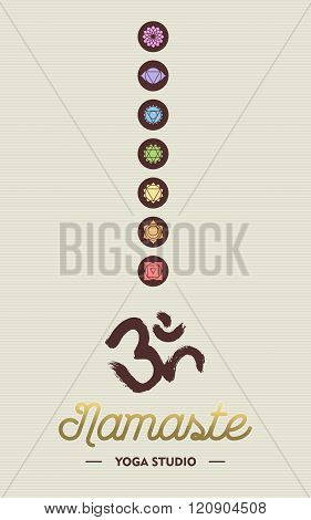 Yoga Studio Business Concept With Chakra Icons