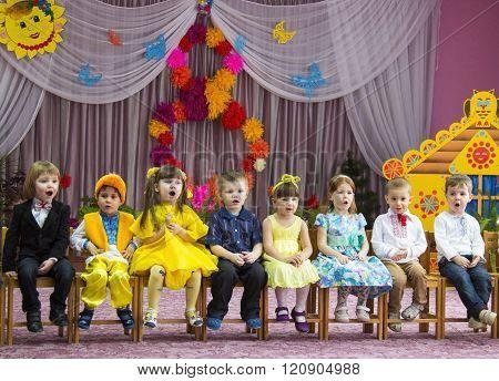 LUTSK UKRAINE - MARCH 02 - Children 8 March event in nursery school in Lutsk on March 02 2016.