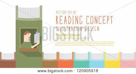 Boy Reading A Book In The Window Of The Spine Book Heading Banner Flat Vector.