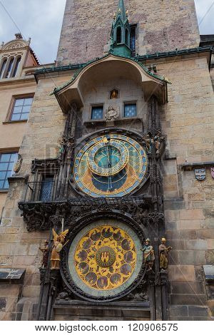 The Astronomical clock in Prague showing details of the clock