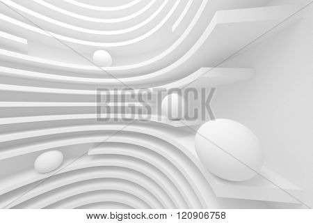 3d Abstract Architecture Background. White Fantasy Background