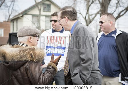 MAR 5, 2016 - WOODBRIDGE, NJ: Eugene Ruocchio, Vice Local Chairman for SMART TD on the stage after the rally held in support of 11 railway labor unions one week before the NJ Transit strike deadline.