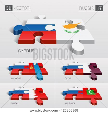 Russia Flag. 3d vector puzzle. Set 17.