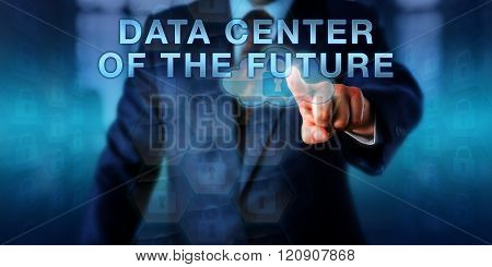 Librarian Touching Data Center Of The Future