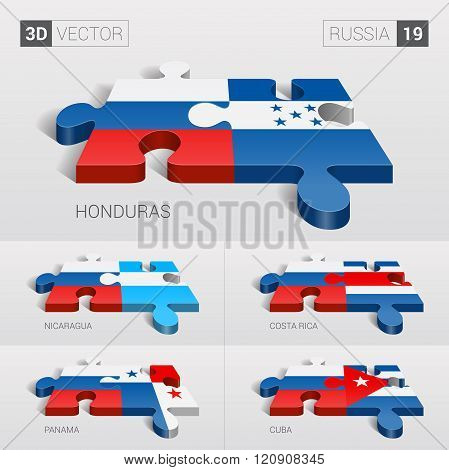 Russia Flag. 3d vector puzzle. Set 19.
