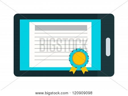 Online education certificate vector illustration
