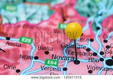 Novara pinned on a map of Italy