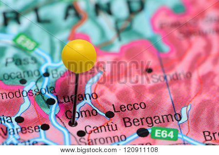 Como pinned on a map of Italy