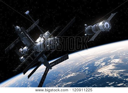 Space Station And Spacecraft