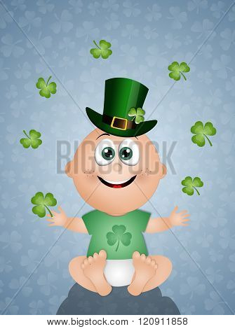 Funny Baby With Clovers
