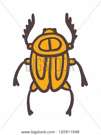 Egypt scarab beetle vector illustration