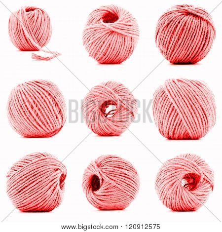 Red Skein Of Woolen Thread Collection Isolated On White Background