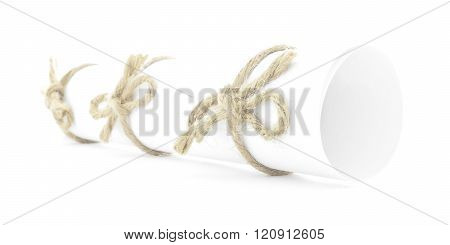 White Paper Tube Tied With Rope, Three Natural Knots Isolated