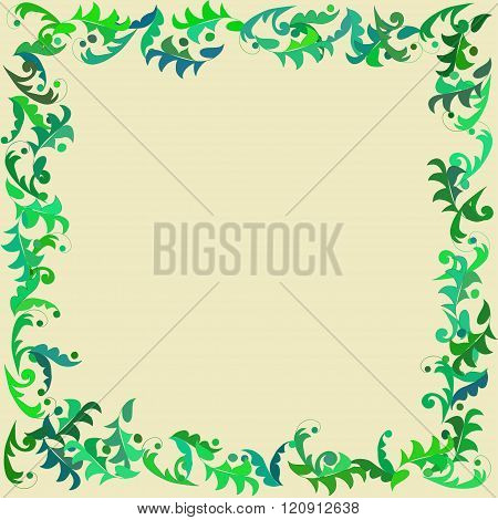 Card with leafy frame.