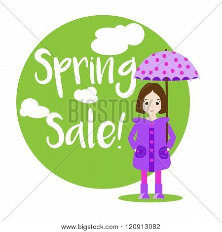 Cartoon Girl Character. Sale Banner