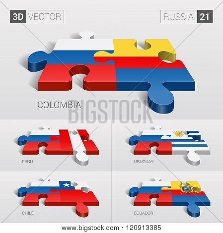 Russia Flag. 3d vector puzzle. Set 21.