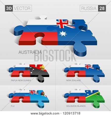 Russia Flag. 3d vector puzzle. Set 28.