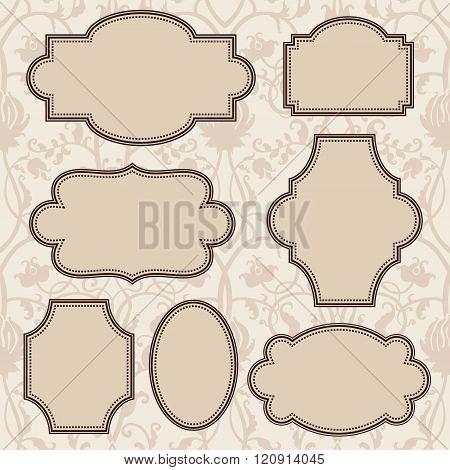 Vintage round frames set. Vector illustration.