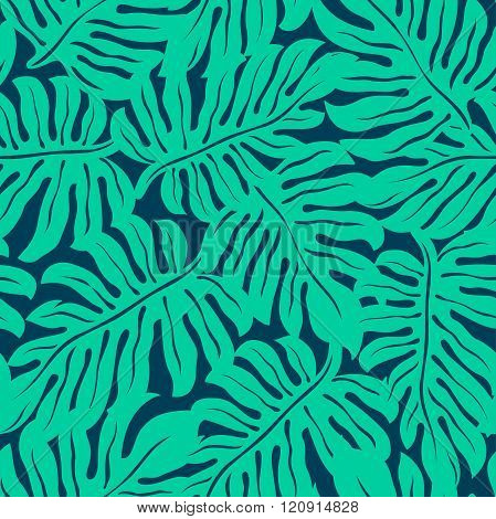 Monstera Tropical Leaf In A Seamless Pattern
