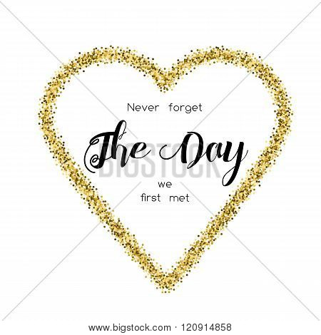 Card With Love Words In The Golden Glittering Heart