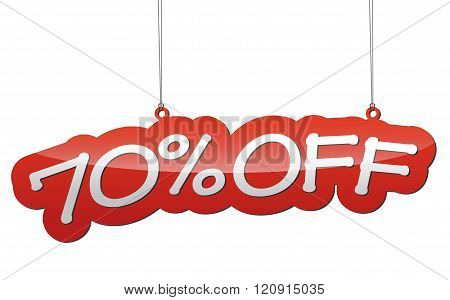 Red Vector Illustration - Background Tag Seventy Percent Discount