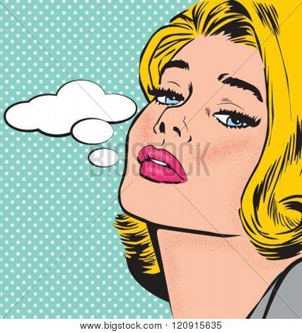 COMIC POP ART STYLE WOMAN CHARACTER. Editable vector illustration file.