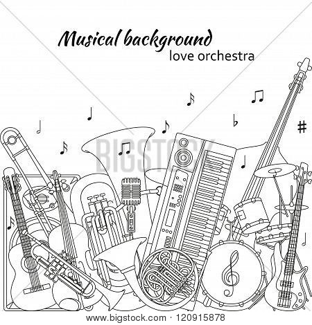 Musical background made of different musical instruments, treble clef and notes. Black and white col