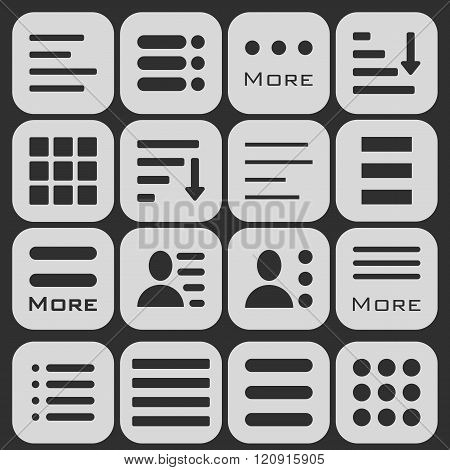Hamburger Menu Icons Set. Bar Line Hamburger Menu Collection. Vector Illustration of Hamburger Menu Isolated on dark background.