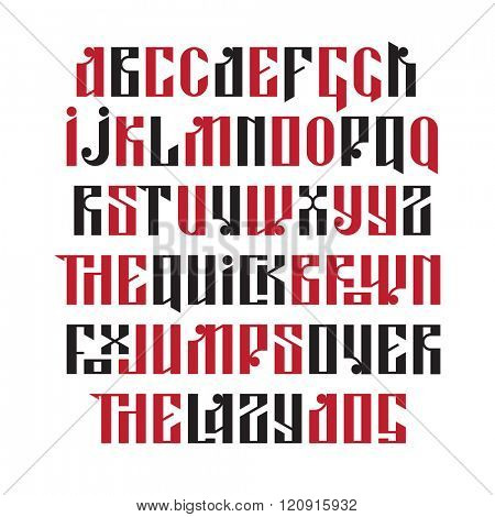 The latin stylization of Old slavic font. Custom type vintage letters on a dark background. Stock vector typography for labels, headlines, posters etc.