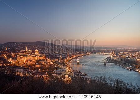 Cityscape Of Budapest, Hungary At Night And Day