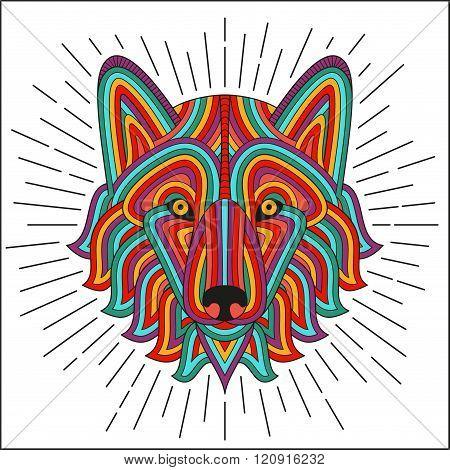 Creative stylized wolf head in ethnic linear style. Good for logo, tattoo, t-shirt design. Animal ba