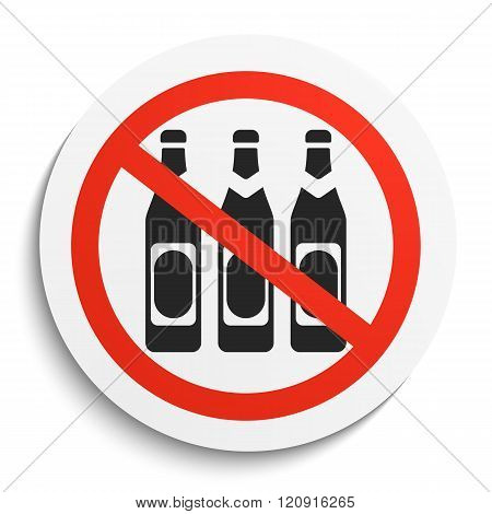 No Beer Prohibition Sign on White Round Plate. No alcohol forbidden symbol. No Beer Vector Illustration on white background