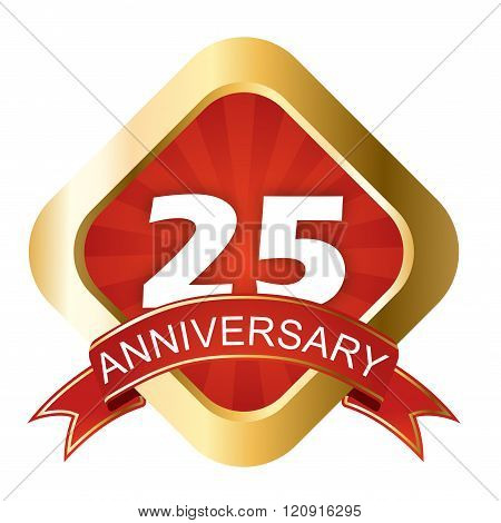 Red And Gold Sign Twenty Five Anniversary
