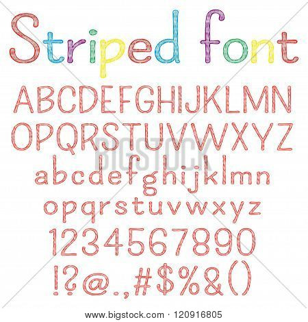 Spriped  font. Alphabet, numbers, punctuation marks. One letter, one compound path. Easy to change c