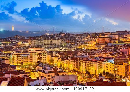 Lisbon, Portugal skyline at sunset.