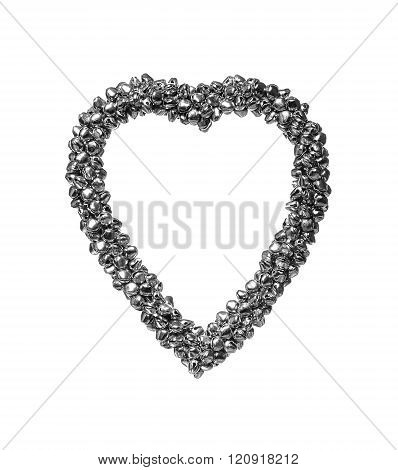 Iron heart on a white background.