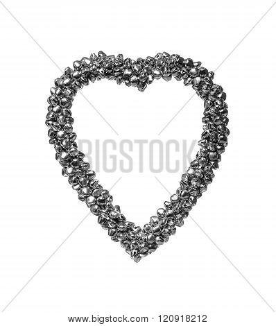 Iron heart on a white background.