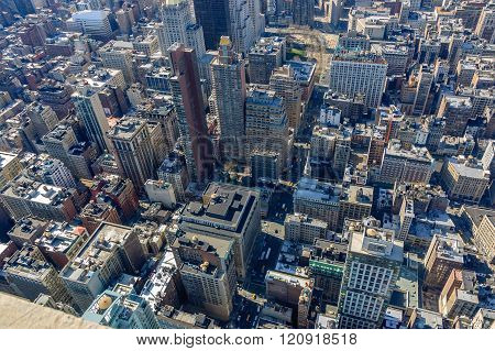 Arial Shot of Skyscrapers in Manhattan, New York City
