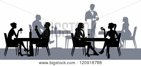 Silhouettes Of People Sitting At The Tables In The Restaurant Or Cafe