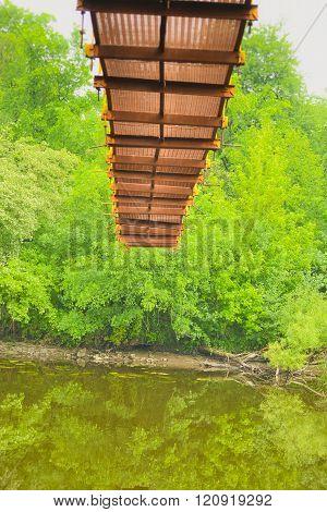Hanging bridge from below