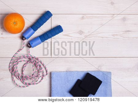 Skipping Rope And Orange On The Floor