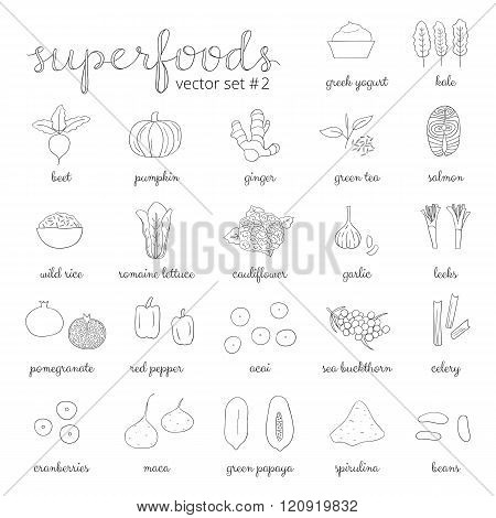 Hand drawn superfoods set 2.