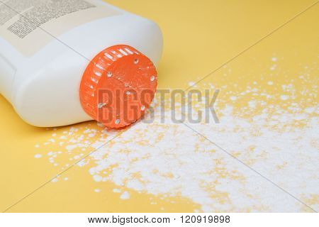 Baby talcum powder container on white background