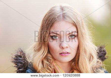 Portrait Sad Attractive Woman Outdoor
