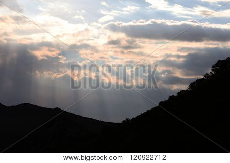 Early Sunrise Over the Mountains