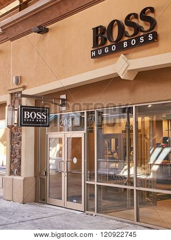 MONTREAL CANADA - MARCH 6 2016 - Hugo Boss outlet in Premium Outlets Montreal. The Premium Outlets is the second Premium Outlet Center in Canada located in Mirabel Quebec.