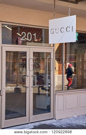 MONTREAL CANADA - MARCH 6 2016 - Gucci outlet in Premium Outlets Montreal. The Premium Outlets is the second Premium Outlet Center in Canada located in Mirabel Quebec.